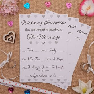 Wedding Invitations & Envelopes - 1 Pack Of 8 - Silver Hearts Collection